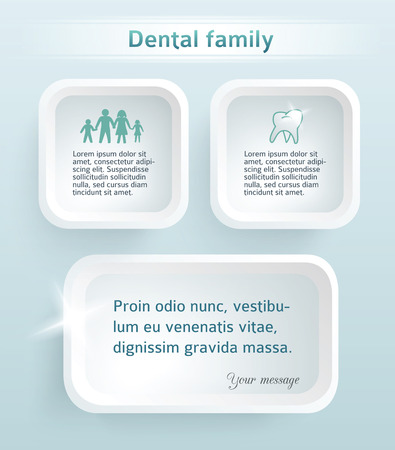 White abstract background in style infographics medical - concept dental family or stomatology care., Graphic Design elements rounded squares with icons teeth, people Vector