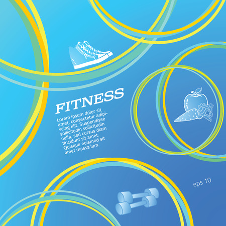 Fitness blue gradient background on info graphic style circle.