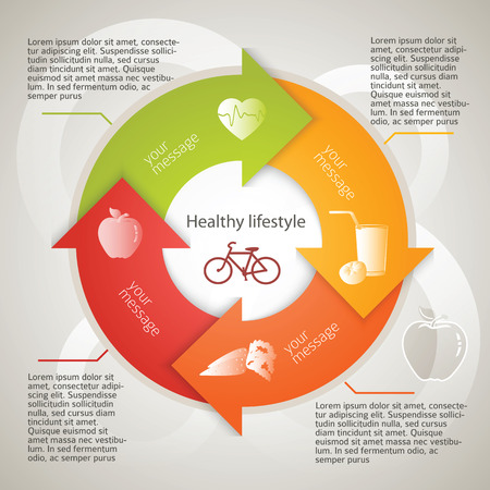 power point: Healthy lifestyle icons over background on infographic style circle arrows chart.