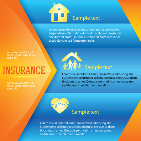 insurance claim: Modern Design style info-graphic template. Vector illustration of kinds of insurance. Can be used for infographics and chart process the insurance company, business service steps options Illustration