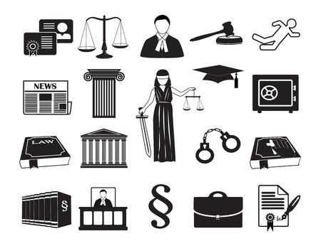Establecer iconos Legal y la ley. Puede ser utilizado para el proceso gráfico de infografía de la empresa la justicia, la Compañía notario, abogado tarjeta de visita Vectores