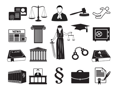 law books: Legal & law set icons.  Can be used for infographic chart process the justice firm, Notary Company, business card lawyer Illustration