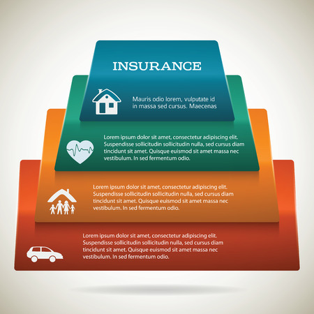 Modern Design style infographic template. Illustration of different kinds of insurance. Can be used for infographics and chart process the insurance company, business service steps options pyramid Vector