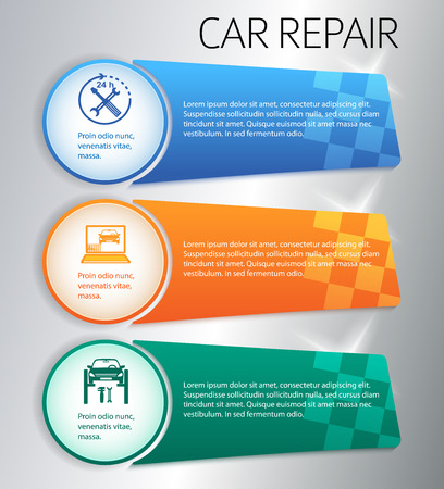 tire cover: Auto service and car repair background with icons design elements. Modern style business presentation template. Vector illustration eps 10