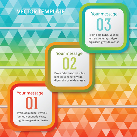 page layout: Rounded squares on triangles colored background. Modern design elements business magazine template. Vector illustration EPS 10 for info-graphics timeline, charts and graphs, brochure page layout