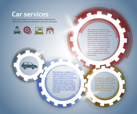 tire cover: Car service business presentation template with gears form on steel background .  Illustration