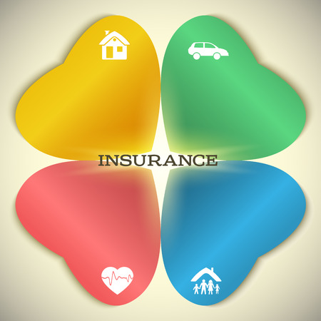 family policy: Modern Design style infographic template. Illustration of different kinds of insurance.