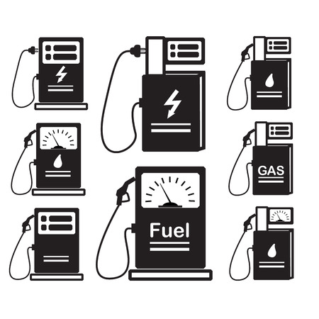 Set icons - silhouette of Gas station pump with fuel nozzle sign.