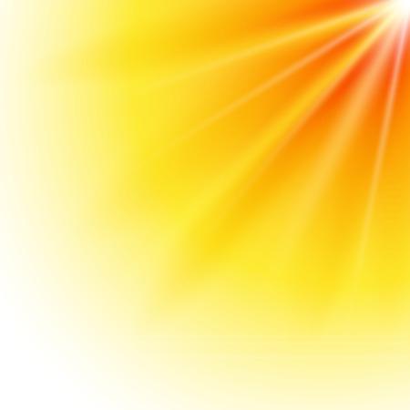 Summer background with yellow ray orange summer sun light burst.