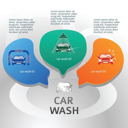 carwash: Car wash design elements background with icons on web banner. Modern business presentation template for car-wash business Illustration
