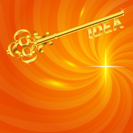 new ideas: Idea with golden key template. Birth of new ideas, business concept. Shining orange, yellow background. Illustration