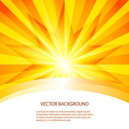 Summer background with orange yellow rays summer sun light burst Imagens - 36646554
