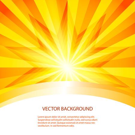 Zomer achtergrond met oranje gele stralen licht barsten zomerzon
