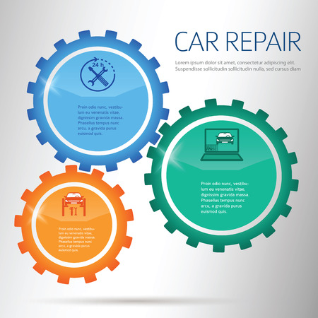 tire cover: Auto service and car repair background with icons design elements & copy space place for your text. Modern style business presentation template. Abstract vector illustration eps 10