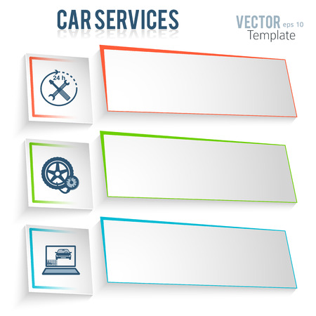 Auto service and car repair template with icons design elements on white background. Modern business presentation template for advertising vehicle repair newsletter. Vector images eps 10 Stock Illustratie