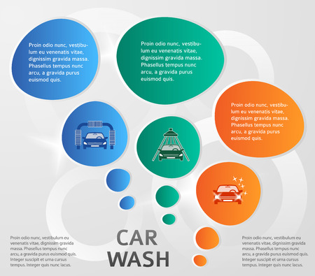 Auto service & car wash background with icons design elements. Modern business presentation template for car-wash flyer. Abstract vector illustration eps 10 Vector