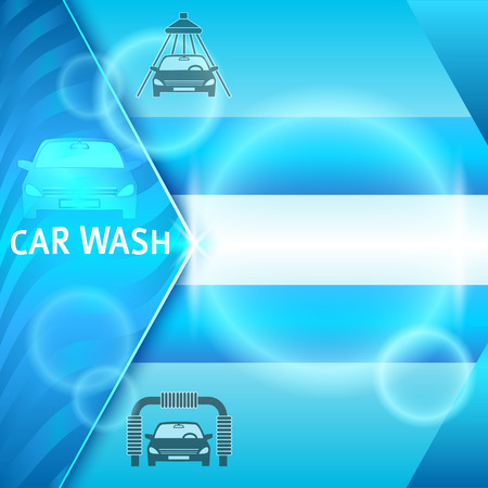Car wash blue light background with icons design elements. Modern business presentation template for car-wash cover brochure. Abstract vector illustration eps 10 can be for flyer layout, web banner Stock Illustratie