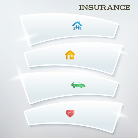 Modern Design style infographic template. Illustration of different kinds of insurance. Can be used for infographics and chart process the insurance company, business service steps options Vector