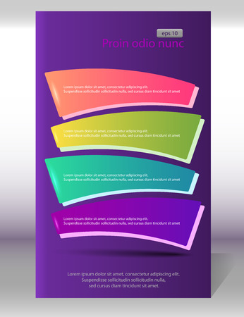 web site design template: Advertisement flyer design elements on purple background. Vector illustration. Can use for modern template business brochure, workflow layout, web site. Illustration