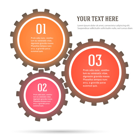 gearing: Colorful Number Options Banner & Card design elements. Vector illustration. Abstract background for infographics, workflow layout, graph & tabs or website, business brochure, banner template, leaflet