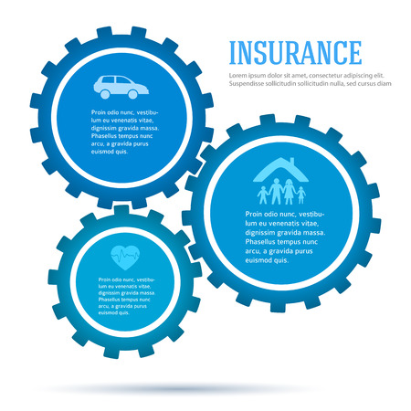 family policy: Modern style infographic template. Card design elements. Vector illustration of different kinds of insurance. Abstract background for infographics, chart business process service the insurance company