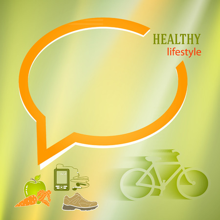 page layout: Healthy lifestyle icons on green blur glowing background on babble speak chart for your message. Vector illustration eps 10 for cover page magezine or web banner, flyer layout Illustration
