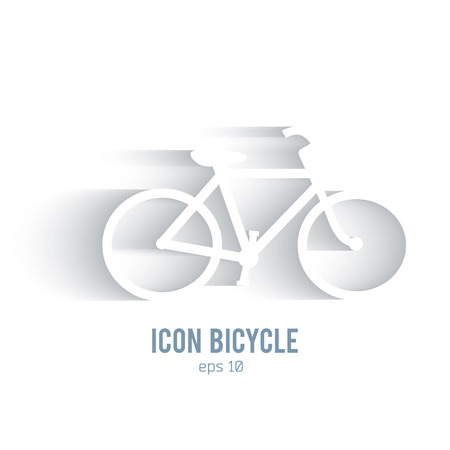 Bicycle silhouette icon on white background with shadow. Healthy lifestyle, cycling sport and wellness concept. Vector illustration eps 10 Vector