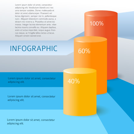 cylindrical: Modern design element style info graphic Cylindrical bar chart, diagram profit. Color cylinder infographics background for report tab in Business booklet your firm. Vector illustration eps 10