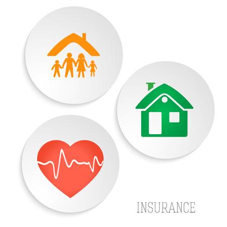 Modernes Design Stil Infografik Vorlage. Illustration der verschiedenen Arten von Versicherungen. Kann für Infografiken und Typografie, Grafik Verfahren die Versicherungsgesellschaft verwendet werden, die Schritte Business-Service-Optionen