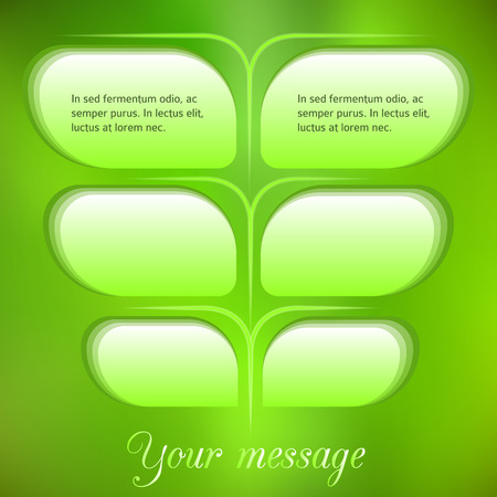 numbering: Modern Design style info-graphics template on blur green leaves background with space place for your text. Vector illustration EPS 10 for page layout numbering for ecological & energy theme booklet