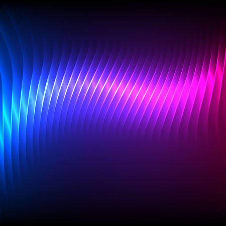 Modern design blue pink abstract background of bright glowing blur wave lines. Vector illustration Eps 10. Futuristic northern lights style night glow neon disco club or night party
