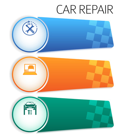 page layout: Car service background business presentation template with ribbon banner horizontal. Vector illustration EPS 10 for info-graphics, number options, web site, page layout firm automobile repair