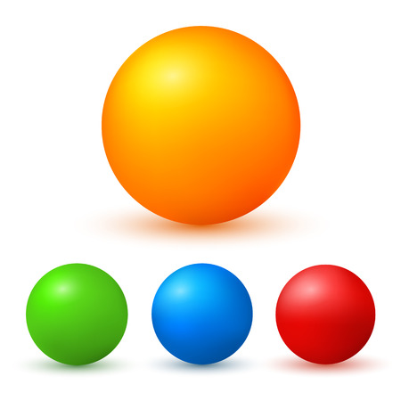 spherule: Set of colored glossy spheres with shadows isolated on white. Vector illustration EPS10. Design elements for your advertising flyer, presentation template, brochure layout page, cover book or magazine
