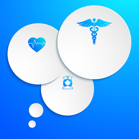 medical technology: Blue medical background abstract - concept healthcare or medicine technology. Vector Illustration EPS 10, Graphic Design elements cutting out circles of paper with icons health, cardiology, nurse