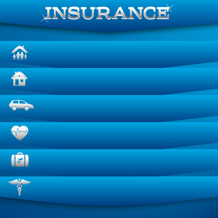 Modern Design style infographic template. Illustration of different kinds of insurance. Can be used for infographics and typography, chart process the insurance company, business service steps options Vector