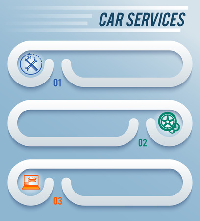 webbanner: Auto service and car wash background with icons design elements on horisontal banner. Modern business presentation template for car repair webbanner. Vector illustration eps 10 Illustration