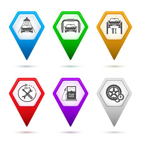 autolavaggio: Impostare Mappa puntatore e icone - servizio Car silhouette manutenzione icona & Gas pompa stazione con ugello combustibile segno in forma di esagono isolato su sfondo bianco con ombra e di luce bengala. Vector EPS 10