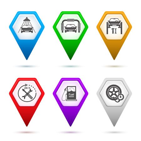 Set Map pointer & icons - silhouette Car service maintenance icon & Gas station pump with fuel nozzle sign in form of hexagon isolated on white background with shadow and light flares. Vector EPS 10