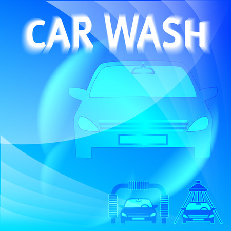 carwash: Car wash blue light background with icons design elements. Modern business presentation template for car-wash flyer. Abstract vector illustration eps 10 can be used for brochure layout, web banner Illustration