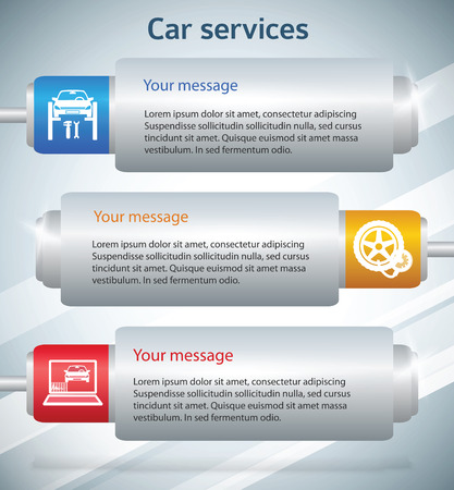 tire cover: Car services. Modern information horizontal banner. Vector illustration eps 10 with cylinder design elements on textured white background. can be used for number options, web banner template, workflow