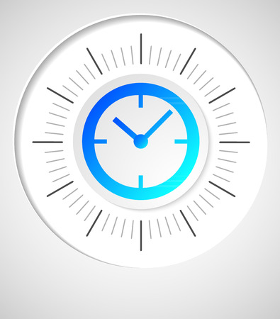 analog dial: The clock concept poster. Mechanical clock face (dial) as part of an analog clock (watch) with black a pointers. Isolated on gray background. Vector illustration EPS 10