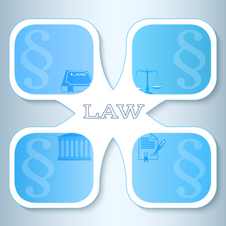 solicitor: Modern design style infographic for Legal & law firm. Vector illustration eps 10. Can be used for business presentation or brochure template the justice office, notary company, business card lawyer Illustration