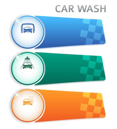 autolavado: Lavado de coches iconos elementos de dise�o. Plantilla de presentaci�n de negocios moderno para los botones de lavado de coches. Resumen ilustraci�n vectorial puede ser para el dise�o folleto, banner web Vectores