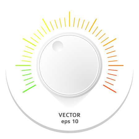 Technology music button (volume settings, sound control knob) with plastic texture, shadow and light background for internet sites, web interfaces (ui) and applications (apps). Vector illustration Vector