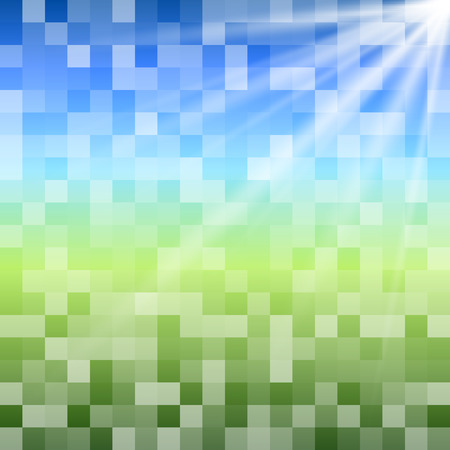 Blurry green field and blue sky with summer sun burst.   Summer theme, a mosaic of bright glowing squares with glow sun ray. Gorgeous graphic for presentation design elements Vector