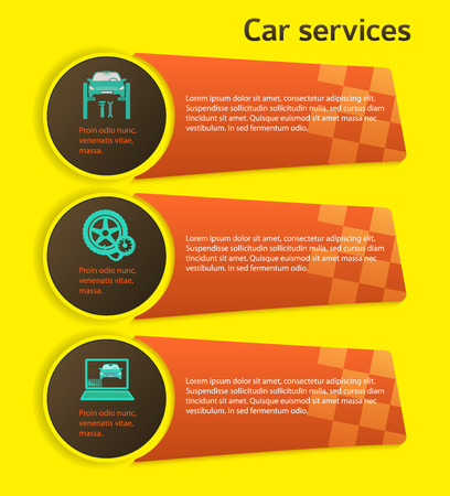 tire cover: Auto service and car repair background with icons design elements on yellow background. Modern business presentation template for advertising vehicle repair newsletter.   Illustration