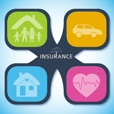 Modern Design style infographic template. Illustration of different kinds of insurance. Can be used for infographics and typography, chart process the insurance company, business service steps options Çizim