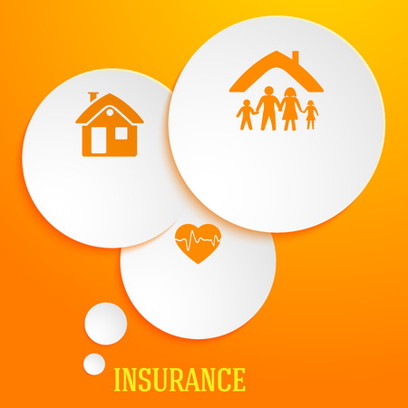 Modern Design style infographic template. Illustration of different kinds of insurance. Can be used for infographics and typography, chart process the insurance company, business service steps options Ilustração