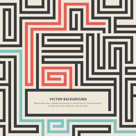 solving: Abstract vector background design with maze texture and place for your text isolated. Good cover for a book on psychology, creative problem solving, logical thinking, the study of human relations