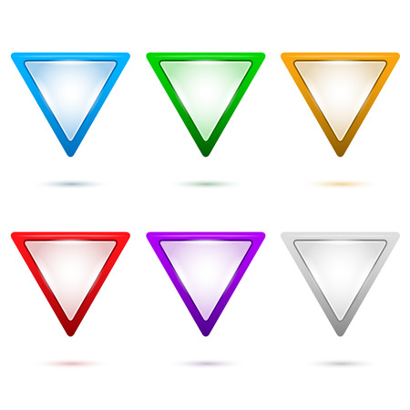 triangle button: Set internet Map pointer in the form of triangle isolated arrows on white background with shadow and light flares.   design elements for brochure layout or button website